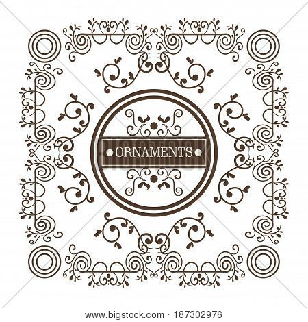 Ornamental frame and ornaments sign over white background. Vector illustration.