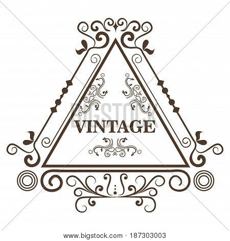 Ornamental triangle shaped frame and vintage sign over white background. Vector illustration.