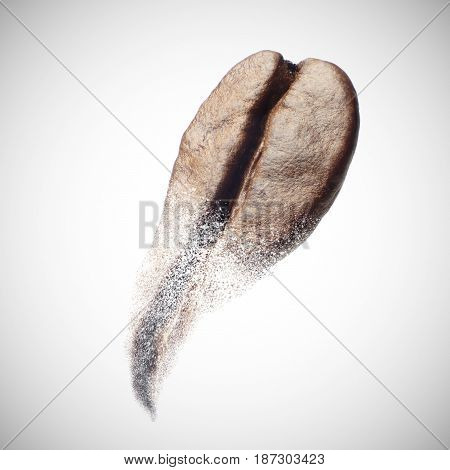 The photo isolate macro of coffee beans are broken into powder.