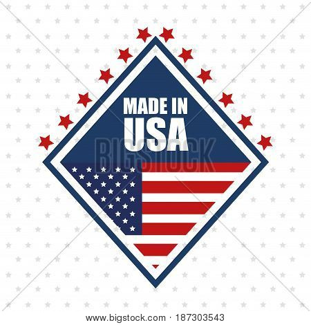 Made in USA sign with stars and american flag over white starry background.  Vector illustration.