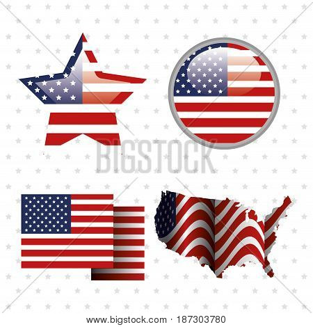 Objects with american flag over white starry background. Vector illustration.