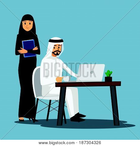 freelance developer Arabian or designer working at homevector character