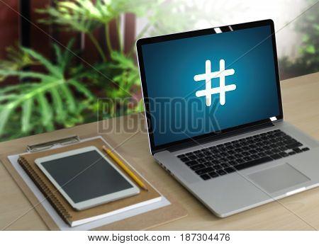 Hashtag Man Use Social Media Blog Post Computer And Chat