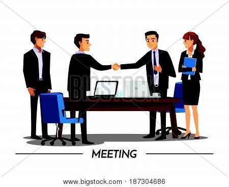 businesss and office concept - two businessmen shaking handsVector illustration cartoon character