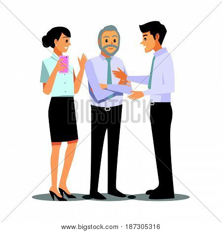 businessmen consulting business work  cartoon character illustration