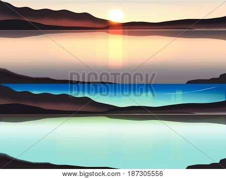 Illustration of Sun rise Behind the mountain. and Aurora borealis above snowy islands of Lofoten