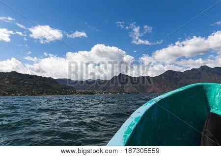 Boat On Lake Atitlan In Guatemala
