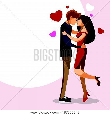 Cartoon character Couple Kissing sweetheart lover two