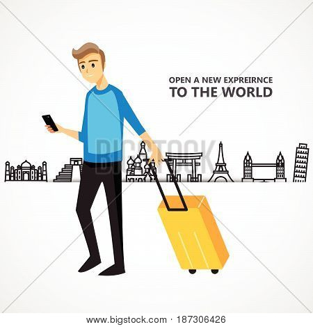 travel background and icon people holiday happy