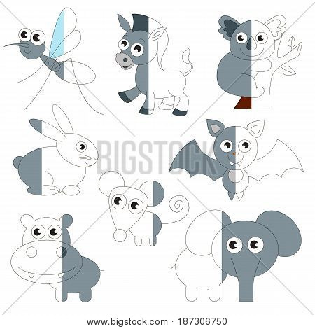 Cute Grey Color Animals, the big collection coloring book to educate preschool kids with easy gaming level, the kid educational game to color the colorless half by sample.