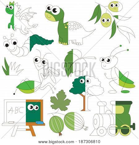 Green Color Objects, the big collection coloring book to educate preschool kids with easy gaming level, the kid educational game to color the colorless half by sample.