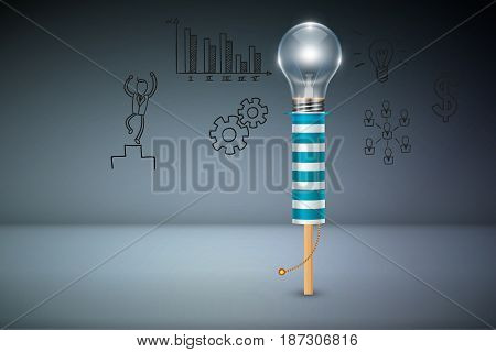 Business Creative and Idea Concept : Arrow fire cracker with light bulb head and business elements background. (3D Illustration)