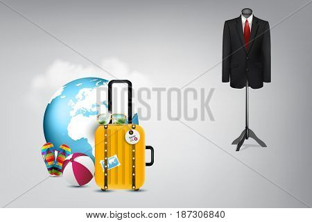 Summer Travel Vacation : Business suit hanging on hanger on background and luggage, sunglasses, ball beach and sandal on foreground. (3D Illustration)