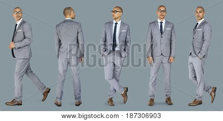 Businessman lifestyle gesture confidence profession standing on background