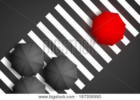 Bird eye view of a red umbrella and black umbrella on a pedestrian crosswalk. (3D Illustration)
