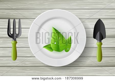 Ecology Idea Concept : Green leaves on dish with fork and shovel on wooden floor.