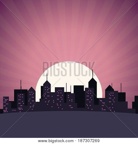 city skyline building skyscrapers sunset view vector illustration