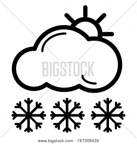 Web icon. Sun, clouds and snow. Vector icon isolated on white. eps 10