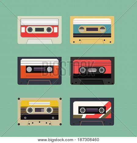 Classic Retro Audio Tape Cassette Set. Vintage Isolated Flat Style Icon. Vector Illustration