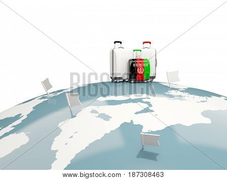 Luggage With Flag Of Afghanistan. Three Bags On Top Of Globe