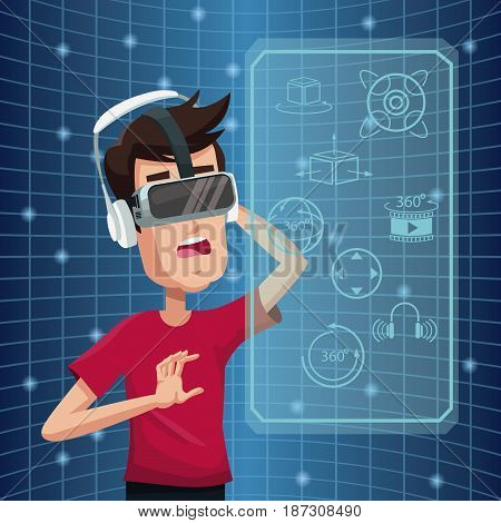 young man virtual reality wearing goggle futuristic high tech vector illustration