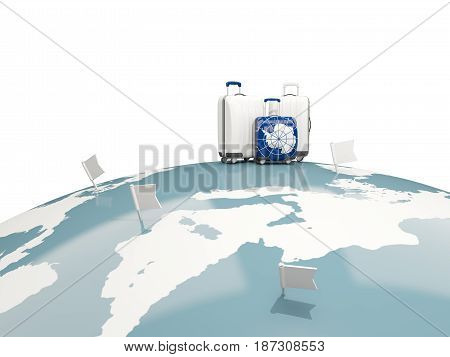 Luggage With Flag Of Antarctica. Three Bags On Top Of Globe