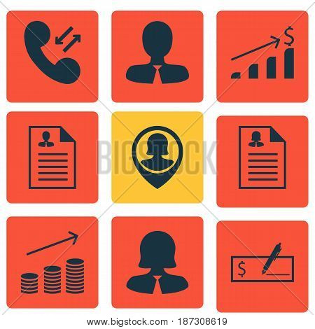 Set Of 9 Hr Icons. Includes Coins Growth, Curriculum Vitae, Female Application And Other Symbols. Beautiful Design Elements.