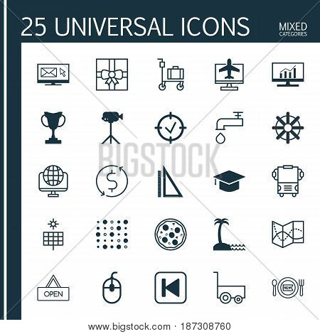 Set Of 25 Universal Editable Icons. Can Be Used For Web, Mobile And App Design. Includes Elements Such As Approved Target, Variable Architecture, Computer Network And More.