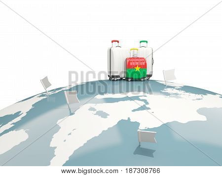 Luggage With Flag Of Burkina Faso. Three Bags On Top Of Globe