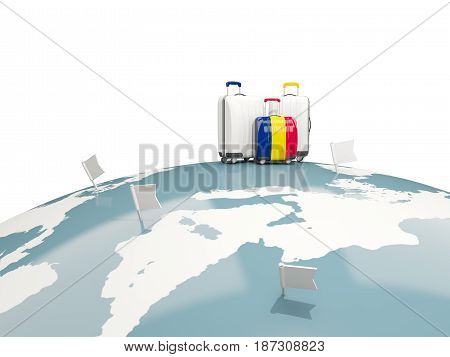 Luggage With Flag Of Chad. Three Bags On Top Of Globe