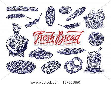 Vintage bakery illustrations set. Vector color hand drawn vintage engraving illustration for label and menu bakery shop
