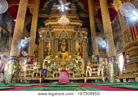 Wat Wachirathammasatit Or Wat Thung Satit Temple In Bangkok, Thailand