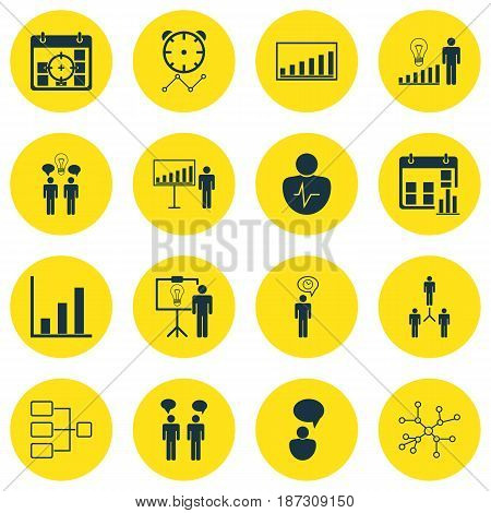 Set Of 16 Board Icons. Includes Personal Character, Group Organization, Project Targets And Other Symbols. Beautiful Design Elements.