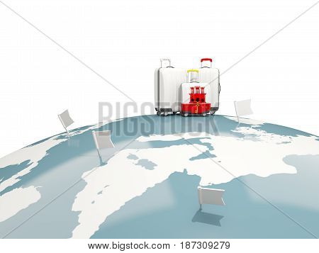 Luggage With Flag Of Gibraltar. Three Bags On Top Of Globe