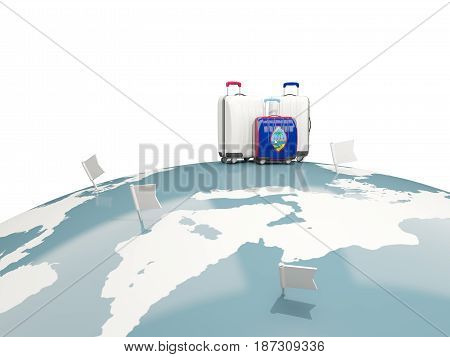 Luggage With Flag Of Guam. Three Bags On Top Of Globe