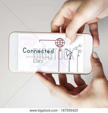 Illustration of global communications network connection on mobile phone