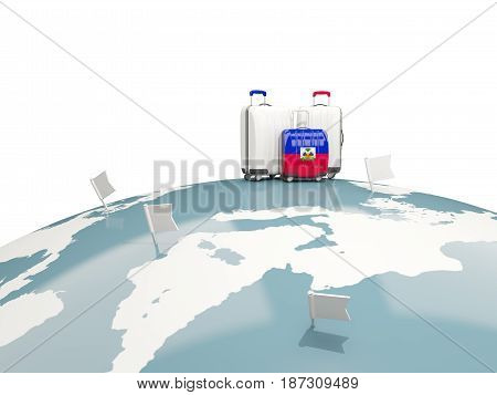 Luggage With Flag Of Haiti. Three Bags On Top Of Globe