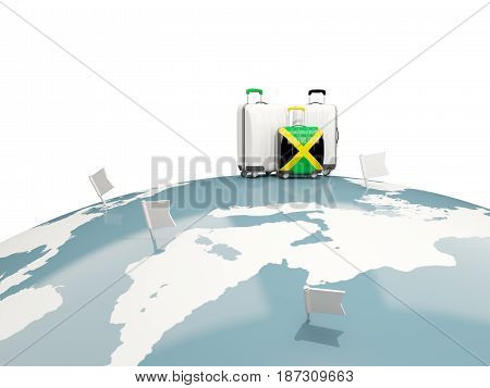 Luggage With Flag Of Jamaica. Three Bags On Top Of Globe