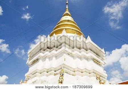 Chedi Of Wat Wachirathammasatit Or Wat Thung Satit Temple In Bangkok, Thailand