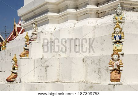 Angel Statue On Building And Chedi Of Wat Wachirathammasatit Or Wat Thung Satit