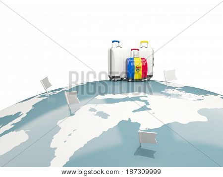 Luggage With Flag Of Moldova. Three Bags On Top Of Globe
