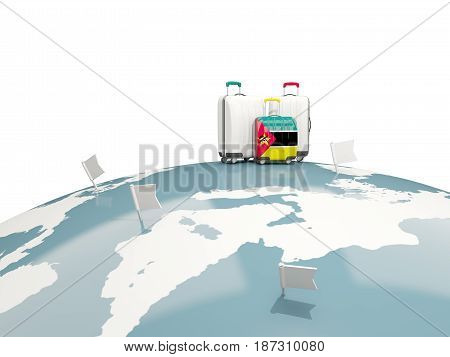 Luggage With Flag Of Mozambique. Three Bags On Top Of Globe