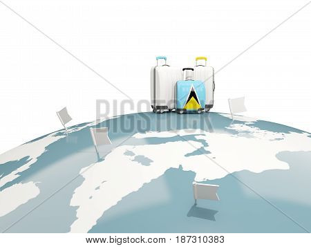 Luggage With Flag Of Saint Lucia. Three Bags On Top Of Globe