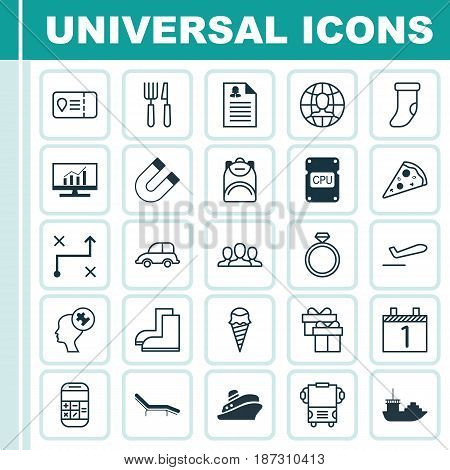 Set Of 25 Universal Editable Icons. Can Be Used For Web, Mobile And App Design. Includes Elements Such As Present, Gardening Shoes, Chaise Longue And More.