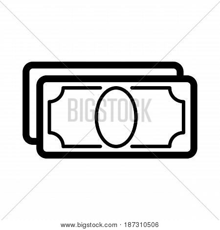 Stylized money with plenty of blank space for your text vector icon. Black and white money illustration. Outline linear finance icon. eps 10