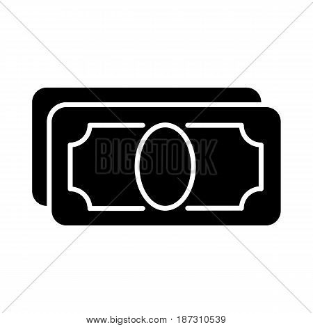 Stylized money with plenty of blank space for your text vector icon. Black and white money illustration. Solid linear finance icon. eps 10
