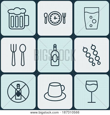 Set Of 9 Food Icons. Includes Hooch, Soda Drink, a And Other Symbols. Beautiful Design Elements.