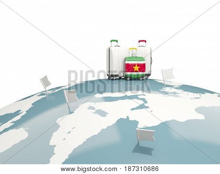 Luggage With Flag Of Suriname. Three Bags On Top Of Globe