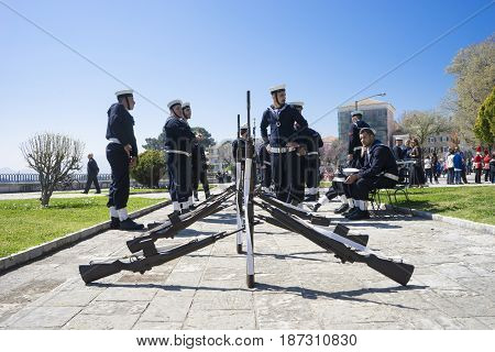 Corfu, Greece - March 25, 2017: Sailors Army In The Customary Lament Procession On The Morning Of Na