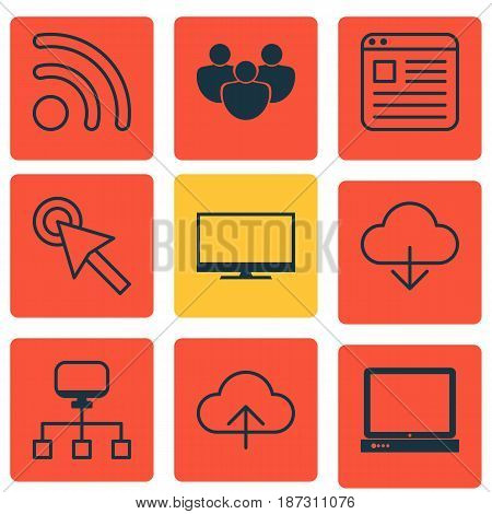 Set Of 9 World Wide Web Icons. Includes Local Connection, PC, Data Synchronize And Other Symbols. Beautiful Design Elements.